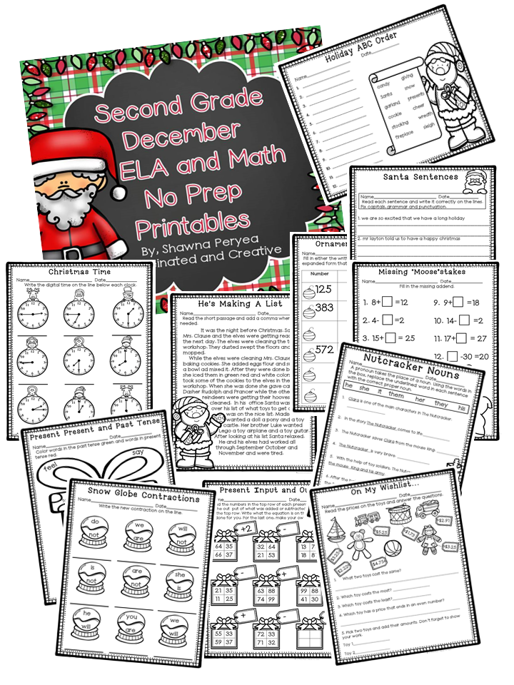 December Second Grade ELA and Math No Prep Printables