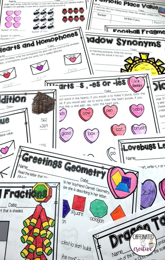 February Literacy and Math No Prep Bundle for Second Grade is full of no prep printables for the entire month! This unit is geared towards 2nd graders, but can also be used for talented first graders or third graders who may be struggling a bit. This product is meant to be a time saver. Just print! It can be used for homework, morning work, or even fun assessments! This unit covers Groundhog's Day, football, Chinese New Year, Valentine's Day and President's Day