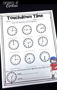 Touchdown Time is a great way for students to practice writing digital time for each analog clock.