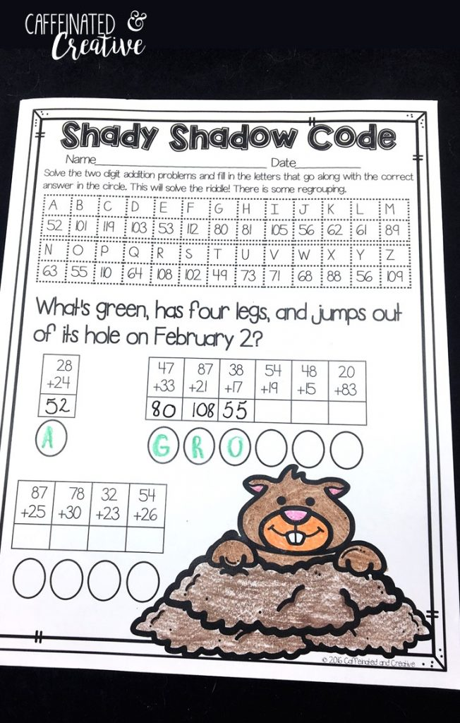 Shady Shadow Code is a fun way for students to practice two digit addition. After adding each equation, they find the correct corresponding letter and solve the riddle. Part of February Literacy and Math No Prep Bundle for Second Grade.