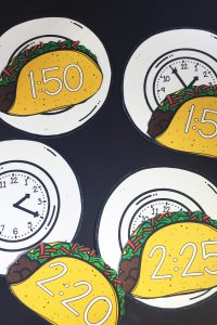 Taco Time is a great and fun way to have kids practice matching digital and analog times. This includes 144 clocks for every five minutes and can be used to play a fun game with the whole class!