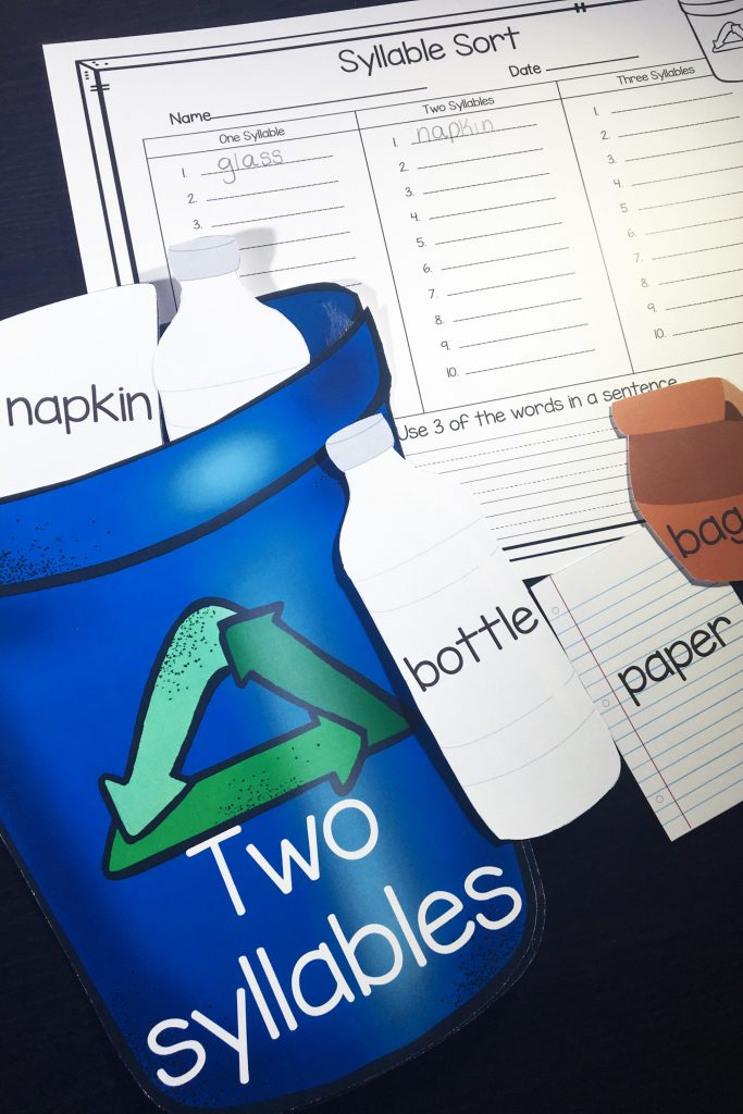 "Earth Day and syllables now have something in common! Students will practice one, two and three syllable words and ""recycle"" them into the correct recycling bin."