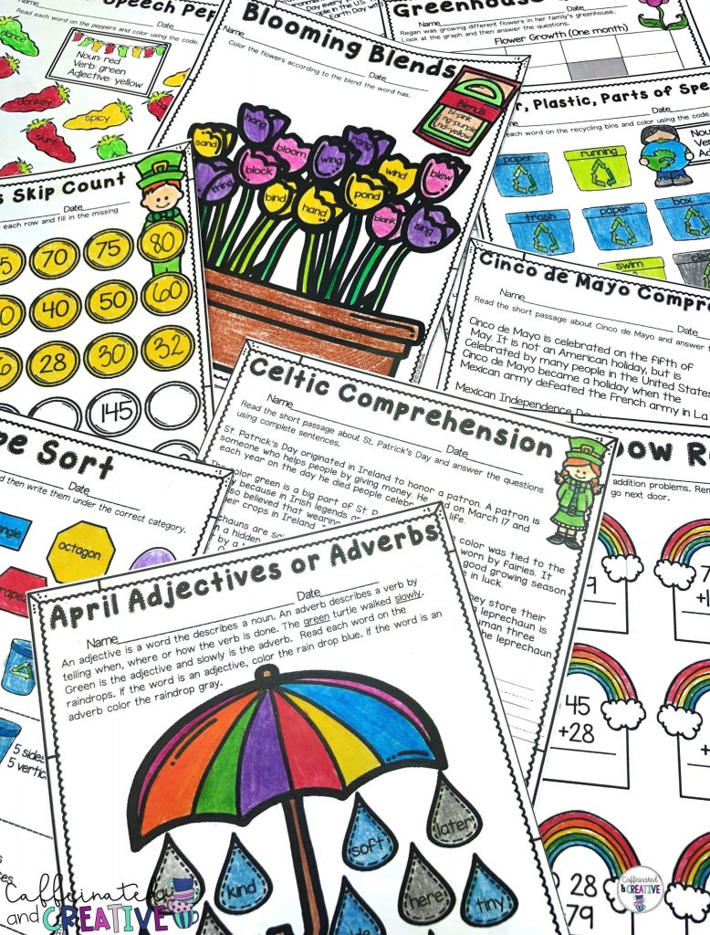 Spring into spring with a no prep spring unit for second grade! This unit is packed full of second grade concepts such as 3 digit addition, reading comprehension, elapsed time, sentence fragments, creative writing and much more! This unit covers spring, t. Patrick's Day, Earth Day, and Cinco de Mayo!
