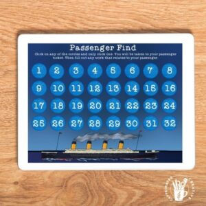 Students will pick a passenger to research about using this digital portion of a huge Titanic unit the covers so much info about the ship as well as touching on language arts and math!
