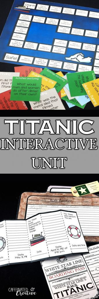 Titanic Unit is an interactive and educational way to teach students about the Titanic. Using reading passages, games, boarding passes, Titanic themed math printables, ideas for the classroom and so much more, they will learn about the ill fated ship.