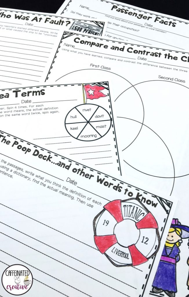 Titanic Unit comes with writing prompts, vocab, venn diagrams, games, activities and much more!