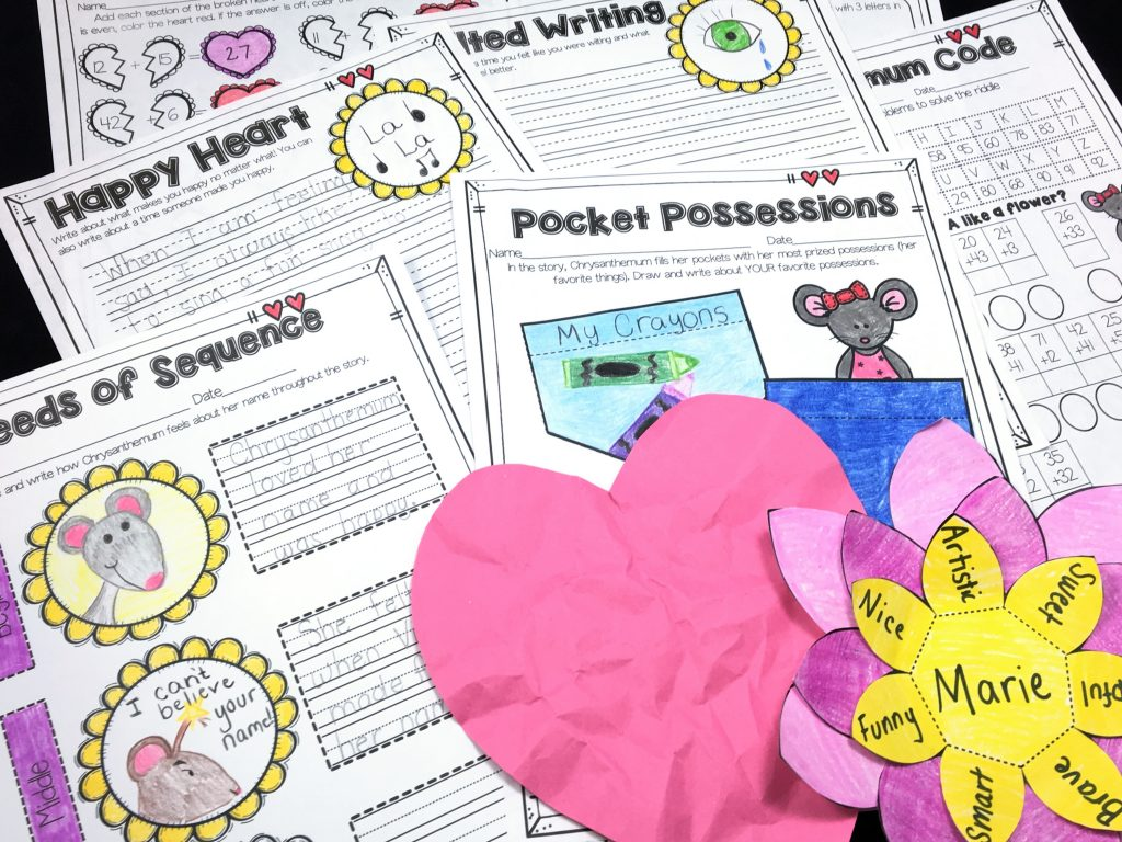 Chrysanthemum Mini Unit comes with a lesson on kindness, crafts, writing pages, as well as math and language arts printables. This is perfect for the first week of school to promote a caring classroom!