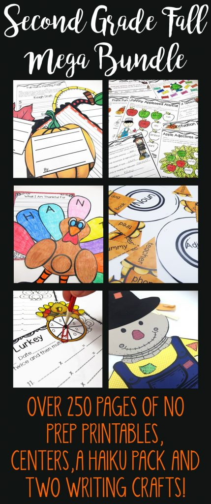 If you are looking for a one stop fall shop, look no further! This Second Grade Fall Mega Bundle has it all! Over 80 no prep ELA and Math printables, 18 centers, a fall haiku pack AND two writing crafts! Save a bundle and be completely set for all of the fall season! Covers fall, apples, labor day, Halloween, Thanksgiving and much more! https://www.teacherspayteachers.com/Product/Fall-Mega-Bundle-for-Second-Grade-2139355