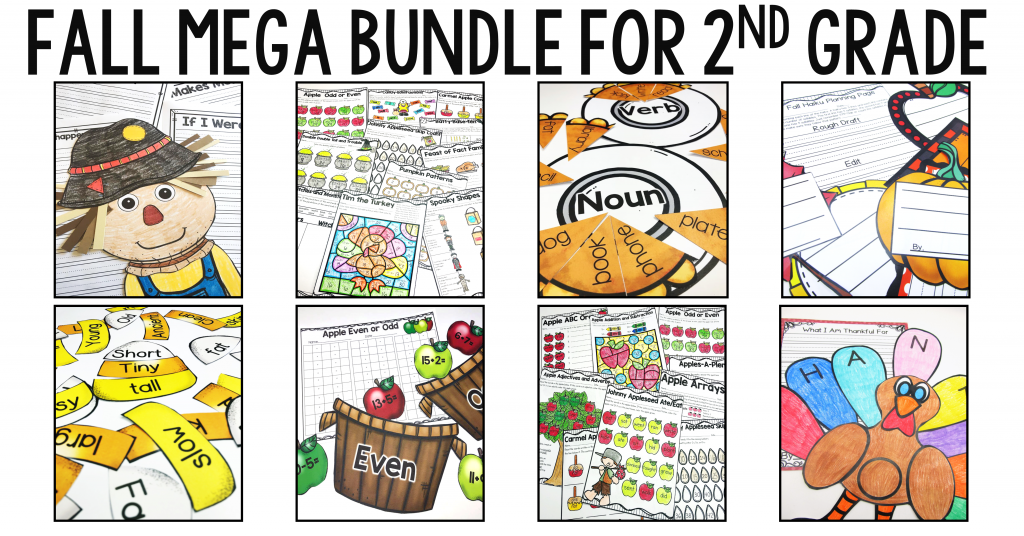 Fall Mega Bundle includes over 18 centers, 96 pages of fall themed printables, and writing crafts for the entire season!