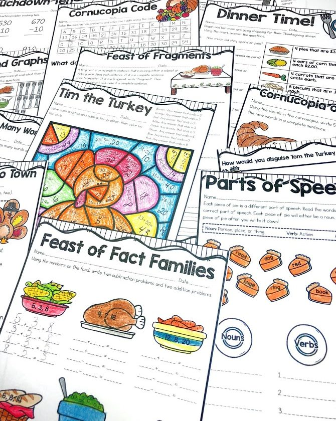 Thanksgiving mini unit covers many ELA and math concepts for second grade.