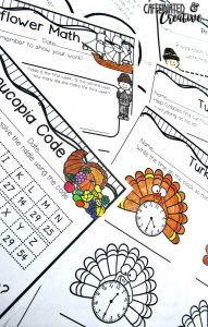 Thanksgiving No Prep Mini Unit for Second Grade is full of ELA and Math Thanksgiving printables for 2nd grade!