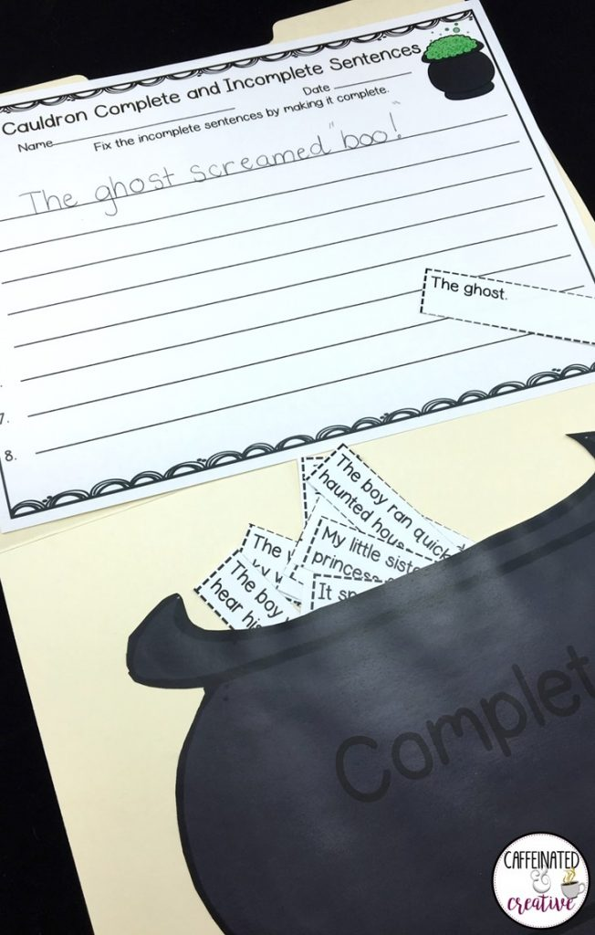 Cauldron Sentences is a fun and quick game for students to practice their knowledge of complete and incomplete sentences. This comes with 2 cauldrons, sentence strips and a recording sheet.