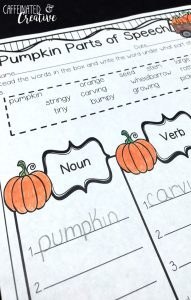 Have students practice organizing words by their parts of speech. This page is included in a Fall No Prep Unit for Second Grade!