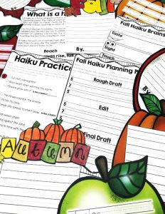 Teach kids to write a haiku by using the fall season. This unit is great for creating fall themed displays and includes 18 different templates!