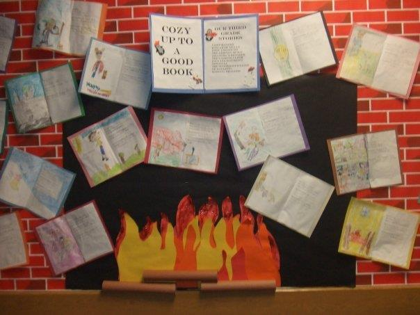 Warm up with a good book bulletin board.