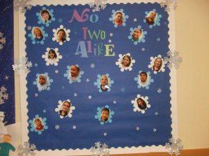 No Two Alike: winter bulletin board.