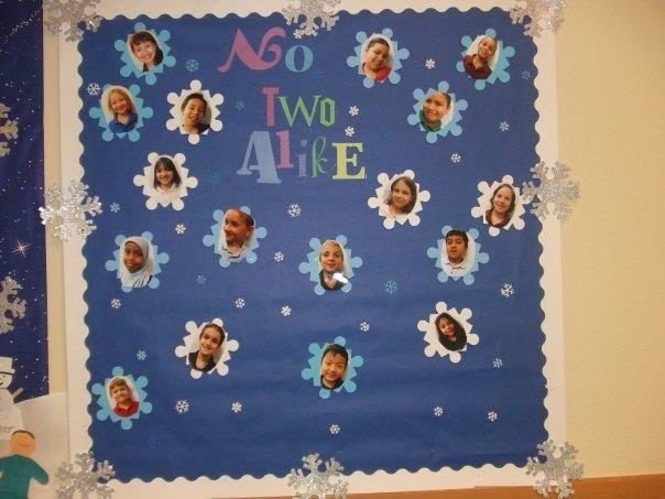 No Two Alike: winter bulletin board.