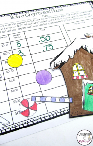 Build A Gingerbread House Center is a fun way for students to build their dream gingerbread house AND practice adding money at the same time. Each building item is worth a certain amount, and the object of the center is to find the total for each of the items they choose to have, as well as the house overall total!