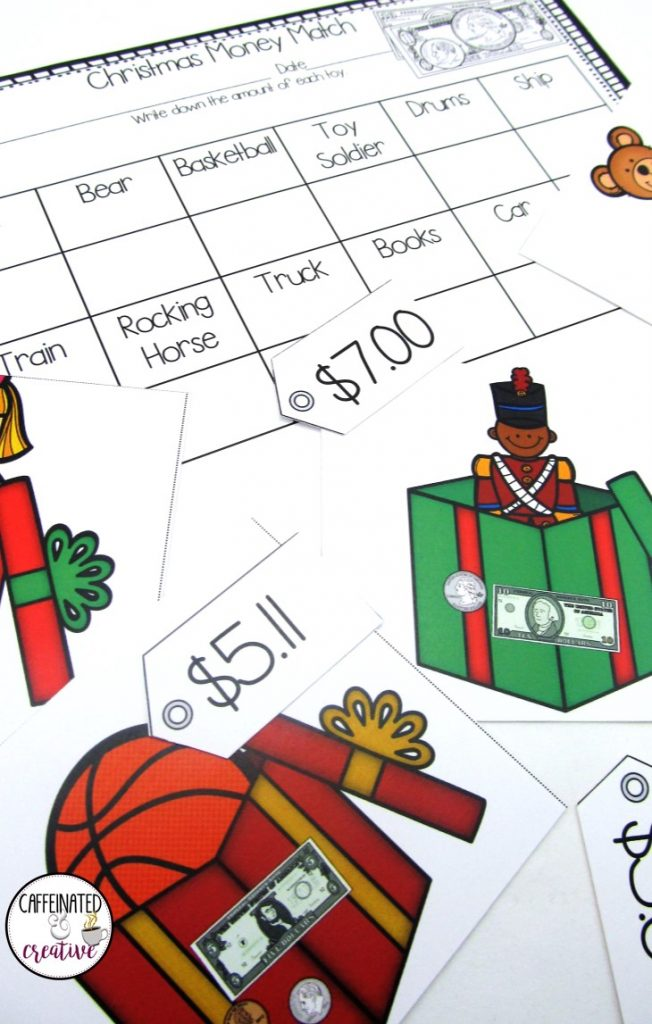 Christmas Money Match Center is a fun way for students to practice matching coins and bills with the dollar value. This center is part of a December ELA and Math Center Bundle!