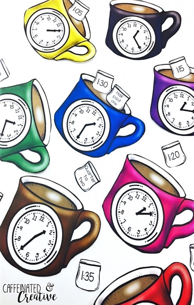 Match the hot chocolate mug with an analog clock on it to the marshmallow with the correct digital or written time. Has times for every 5 minutes and covers half past, quarter past, quarter to and o'clock. This center is part of a Winter Literacy and Math Center Bundle which comes with 9 other centers!