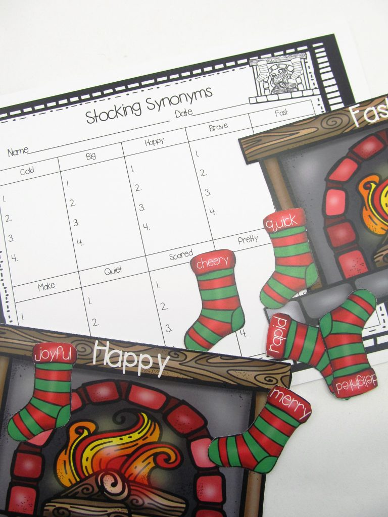 Stocking Synonyms Center is a fun way for students to find synonyms for common words. The object of the center is to match each of the stockings with the correct fireplace.