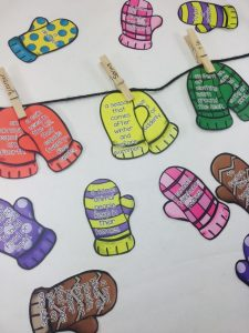 Match a pair of mittens that contain two different definitions with the correct word.