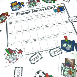 Toy Money Match Center is a fun way for students to practice matching coins and bills with the dollar value. This center can be used for Christmas or anytime of the year to practice money! Students look at each toy that contains bills and coins and match it the correct tag. Comes with a recording page and challenge page with word problems involving the toys!