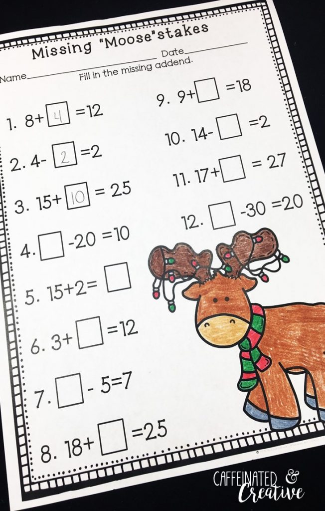 Missing Moosestakes is a great way for students to practice finding missing addends in equations. This is part of December Literacy and Math No Prep Bundle for Second Grade.