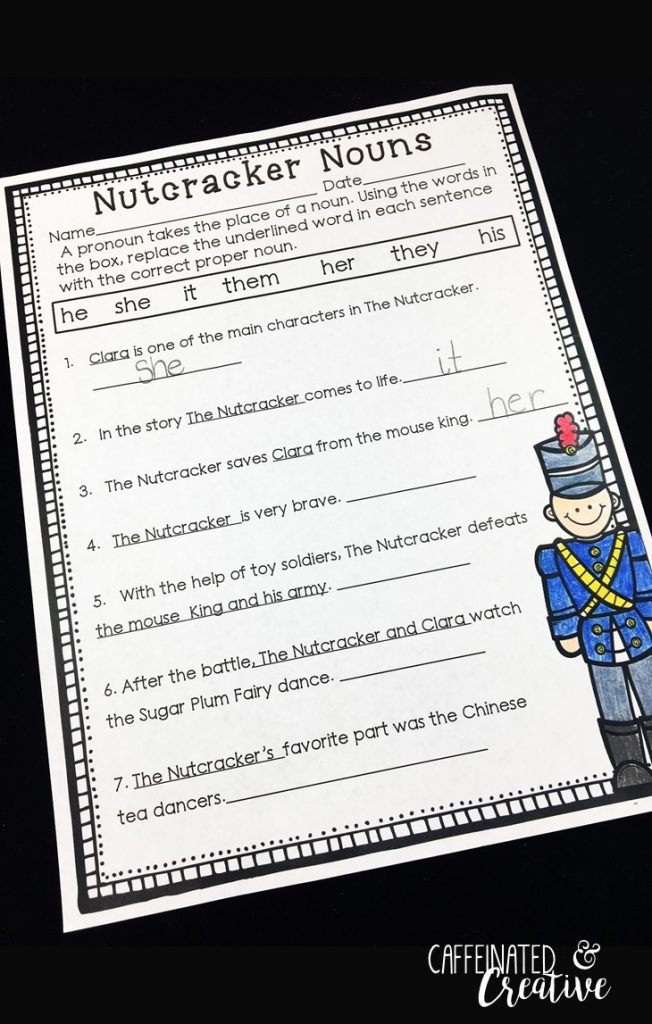 Nutcracker Nouns gives students practice to replace proper nouns with pronouns. After they read each sentence, the change the undounerlined proper noun to a pronoun. This is part of December Literacy and Math No Prep Bundle for Second Grade.