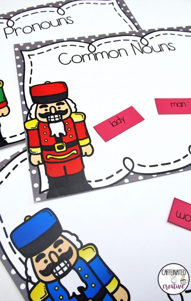 Nutcracker Nouns Center is a fun and easy center game for students to learn the different types of nouns. Included are common nouns, proper nouns and pronouns. Simply print, laminate and cut out!