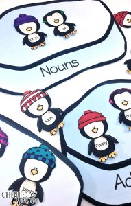 Match each penguin to the correct ice patch with the part of speech it belongs to. Covers nouns, verbs, adjectives and adverbs. This center is part of a Winter Literacy and Math Center Bundle which comes with 9 other centers!