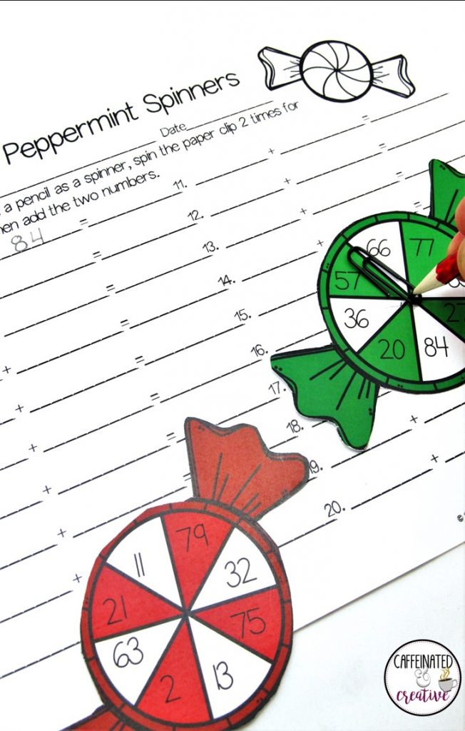 Peppermint Addition and Multiplication Spinners Center is a fun and easy center game for students to practice either adding or multiplying 2 digit numbers.