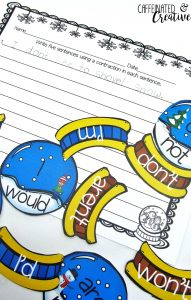 Snow Globe Contractions Center is a fun and easy center game for students to learn contractions. Simply print, laminate and cut out! This center is part of a December ELA and Math Center Bundle! Get 12 centers and save big!