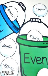 Solve equations with up to three digits and place in the correct pail based on if the answer is even or odd. This center is part of a Winter Literacy and Math Centers Bundle for Second Grade.