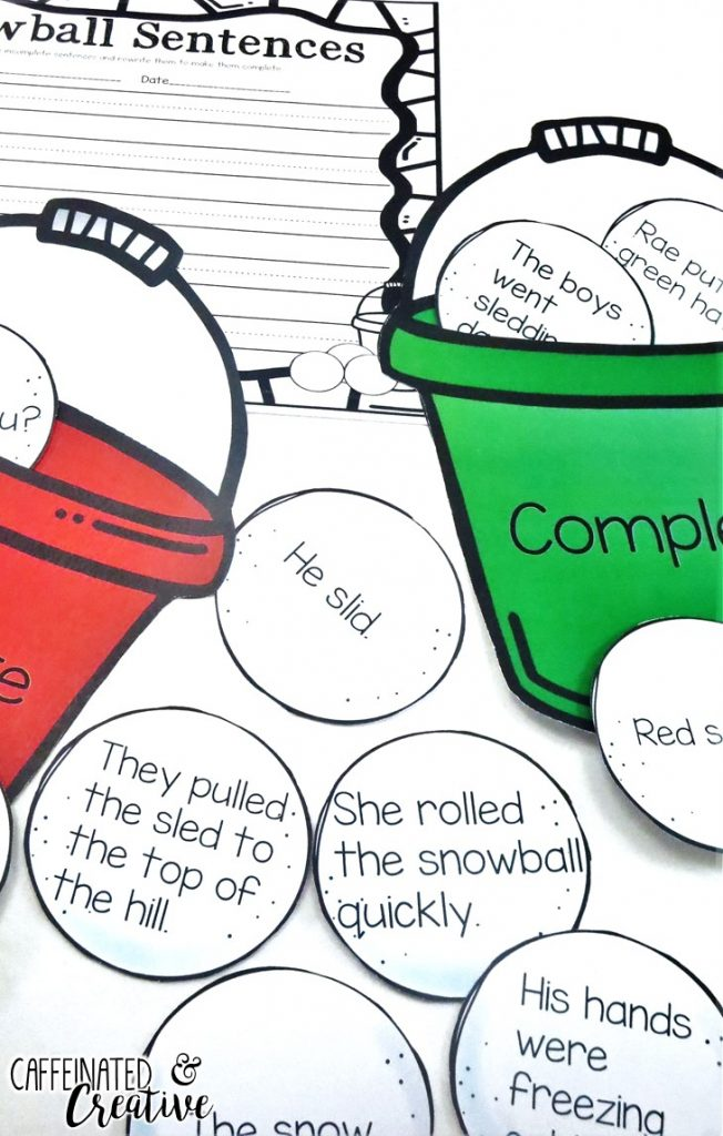 Dollar Deal! Snowball Complete and Incomplete Sentences Center is a fun and interactive way for students to practice recognizing complete and incomplete sentences. The object of the center is to place each snowball in the correct pail. Then students will make five of the incomplete sentences complete with the recording sheet.