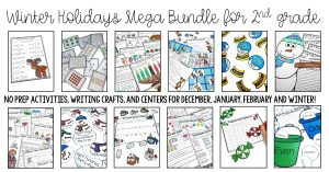 Winter and Holidays Bundle for Second Grade is JAM PACKED with printables for December, January and February! This includes over 200 pages of no prep pages, 12 December Centers, 10 Winter centers and two winter craftivities! Cover parts of speech, time, missing addends, main idea, fractions, regrouping and SO MUCH MORE! This bundle is geared towards second graders, but can also be used for talented first graders or third graders who may be struggling a bit. This MEGA Bundle will save you HUGE!