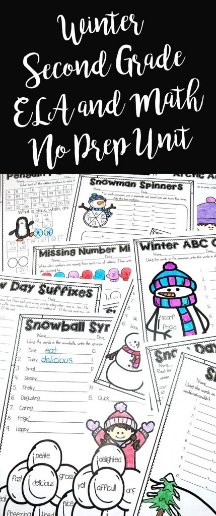 Winter No Prep Bundle or Second Grade is full of no prep printables for the season! This includes both my math and literacy winter packs!