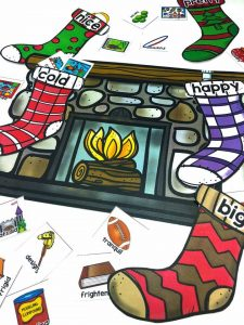 Have students practice matching words with their synonyms and antonyms with Synonyms and Antonyms Stocking Stuffers! This fun center is perfect for Christmas. The object of the center is for students to find four toys that are synonyms for the words on the stocking. Then they match the stockings to the correct fireplace.
