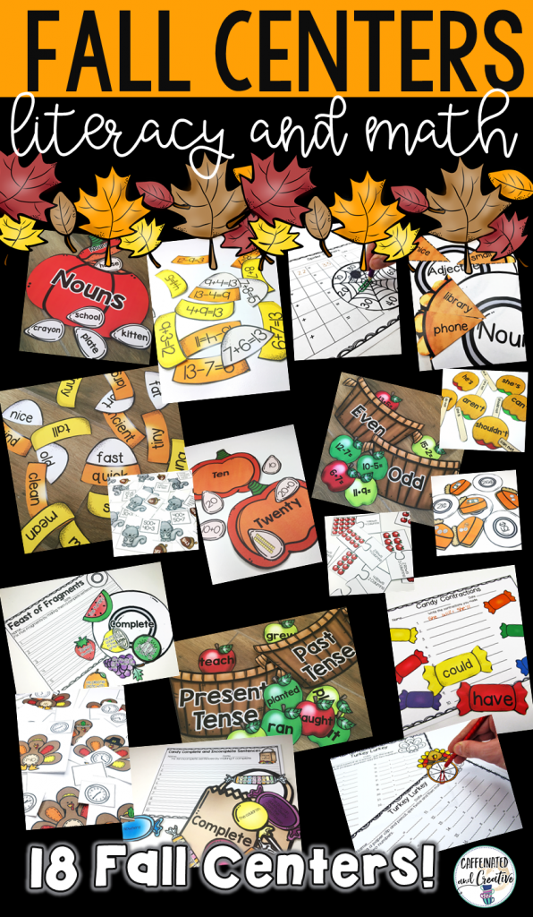 Fall Math and Literacy Centers Bundle for Second Grade includes 18 centers for enhancing math and literacy during the fall season! Perfect for Johnny Appleseed, Halloween and Thanksgiving!
