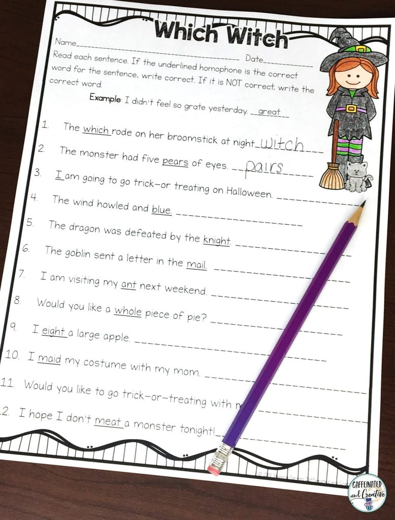 Which Witch is fun practice for homophones. This worksheet is part of a no prep Hallloween Mini Unit for second grade.