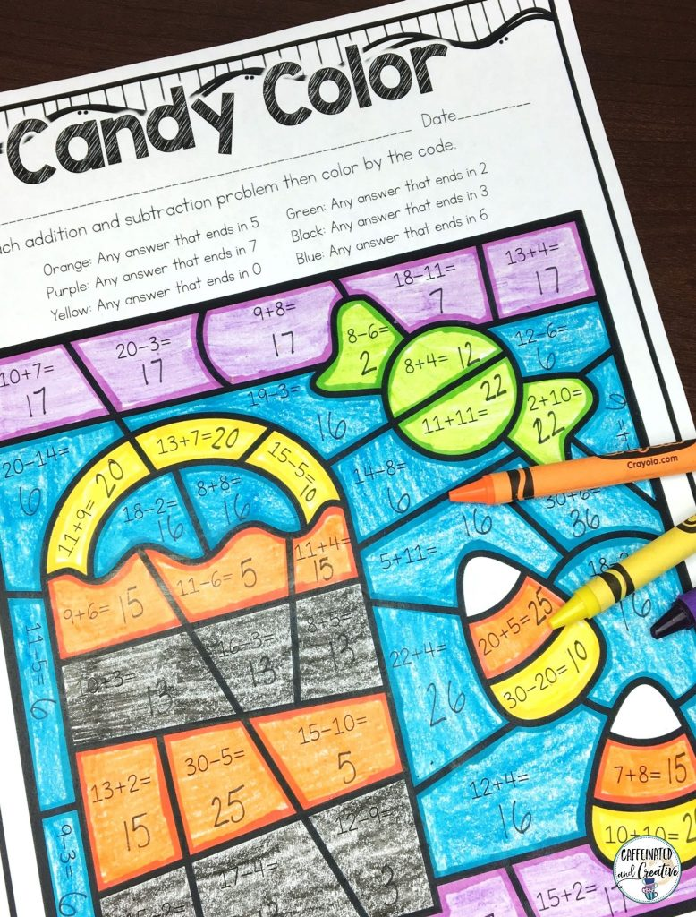 Candy Color is great for actual Halloween because not only is it fun for students, but it is educational too! After solving each addition or subtraction problem, the color the picture according to the code.  Part of a Halloween Mini Unit for second grade.