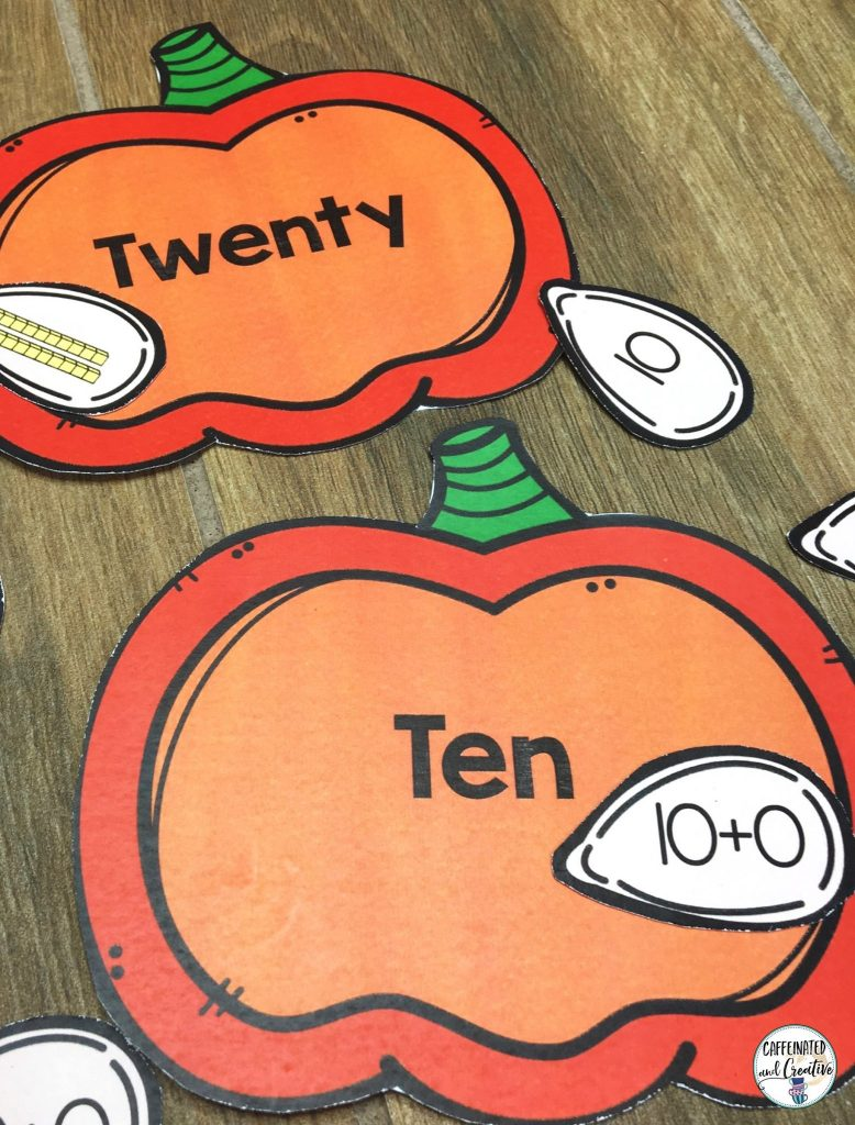 Place Value Pumpkins is a fun center for students to practice place value. There are 20 pumpkins with the written form on it. The object of the center is to match the seeds with the numbers, expanded form and base ten blocks to the correct pumpkin.
