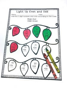 Solve addition problems and color if it is odd or even. Some regrouping. Part of December No Prep Literacy and Math Bundle For Second Grade.