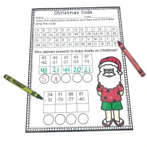 Practice subtracting two digit numbers with Christmas Code. After solving each of the problems, students fill in letters to solve the riddle. Part of December No Prep Literacy and Math Bundle For Second Grade.