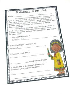 Kwanzaa main idea is a quick way for students to learn about Kwanzaa. After reading the short passage, they will answer comprehension questions.