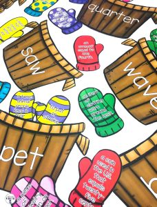 Match a pair of mittens that contain two different definitions with the correct word. This center is part of a Winter Literacy and Math Center Bundle which comes with 9 other centers!