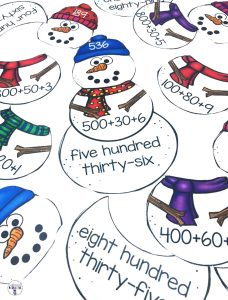 Snowman Place Value Center is a fun and interactive way for students to practice matching numbers with their numerical form, expanded form and written form. This center is part of a Winter Literacy and Math Centers Bundle for Second Grade.