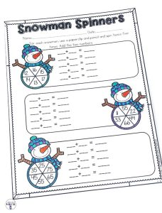 Snowman Spinners is a fun way for students to practice adding two 2 digit numbers. Using a pencil and paperclip, they will make equations to solve! Part of a Winter Literacy and Math No Prep Bundle for Second Grade.