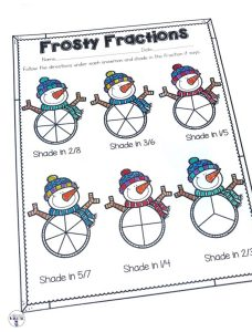 Frosty Fractions is a fun way for students to practice showing fractions. After reading each fraction, all they do is shade the correct part. Perfect for a quick assessment, morning work and homework! Part of a Winter Literacy and Math No Prep Bundle for Second Grade.