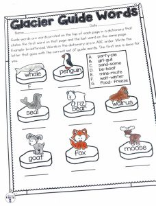 Making learning how to use a dictionary fun with Glacier Guide Words. Students will find what match what guide words are for each word with this fun arctic printable! This page is part of a Winter No Prep ELA and Math Unit for Second Grade!